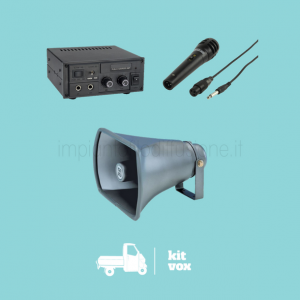 Kit audio VOX per venditori ambulanti, tromba, amplificatore e microfono