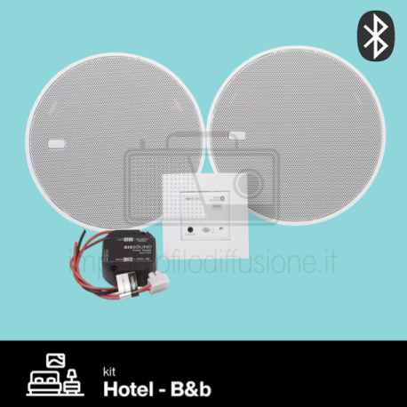 "Kit filodiffusione integrato per hotel e b&b con ricevitore bluetooth bianco diffusori 5"" In-Wall eissound"